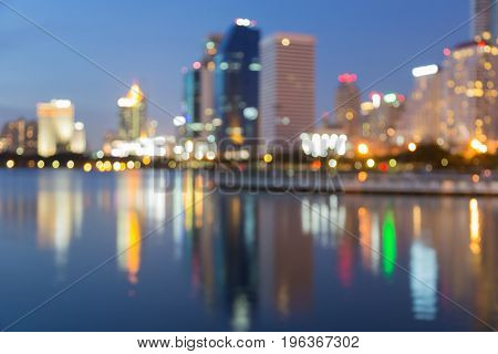 City light reflection blurred bokeh light at twilight abstract background