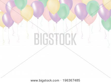 Pastel Color Pink, Orange, Green And Blue Celebrate Air Pastic Balloon