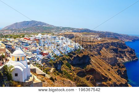 Panoramic view of town of Fira, Santorini, Greece