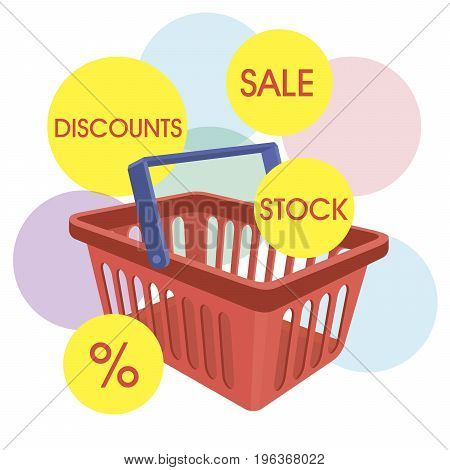 Empty shopping basket on abstract background. Color vector illustration