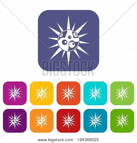 Round cell virus icons set vector illustration in flat style in colors red, blue, green, and other