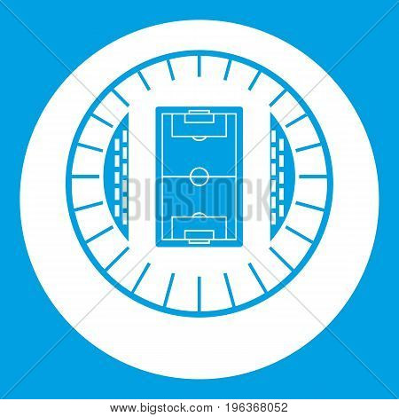 Round stadium top view icon white isolated on blue background vector illustration