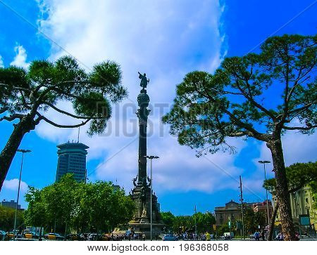 Barcelona, Spain - May 09, 2007: Christopher Columbus monument in the sea front with a blue sky background, in Barcelona.The Columbus statue is one of the most iconic symbols of the city of Barcelona, Spain.