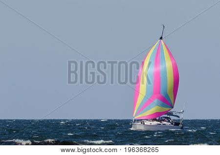 SAILING - Sail yacht of the sea filled with wind