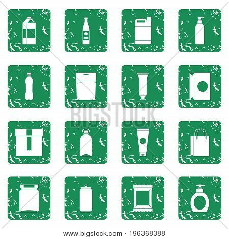Packaging items icons set in grunge style green isolated vector illustration