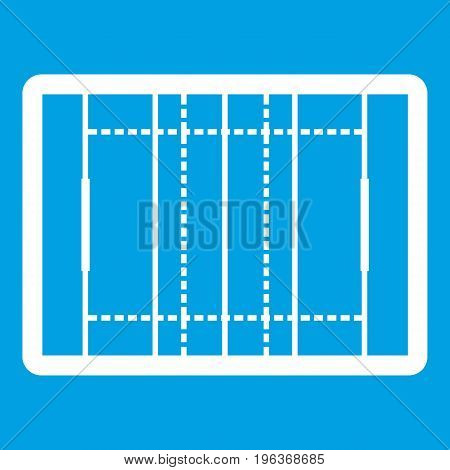 Rugby field icon white isolated on blue background vector illustration