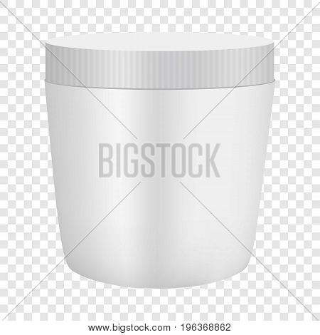 White plastic cosmetic container mockup. Realistic illustration of white plastic cosmetic container vector mockup for web