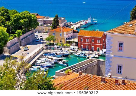 Famous Fosa Harbor In Zadar Aerial View