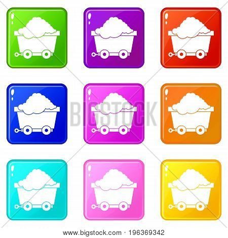 Cart on wheels with coal icons of 9 color set isolated vector illustration