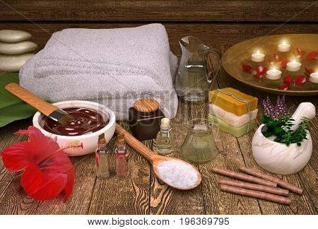 Spa still life with candles spa products and hibiscus flower. 3D illustration