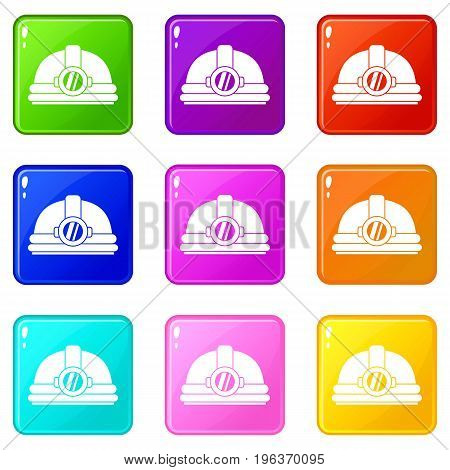 Helmet with light icons of 9 color set isolated vector illustration