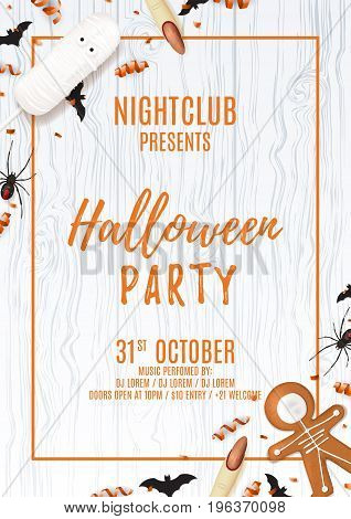 Halloween party poster with treats. Top view on spiders, paper bats and confetti on wooden texture. Vector illustration with cookies. Invitation to nightclub with serpentine.