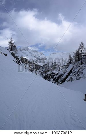 winter day in formazza valley in italy