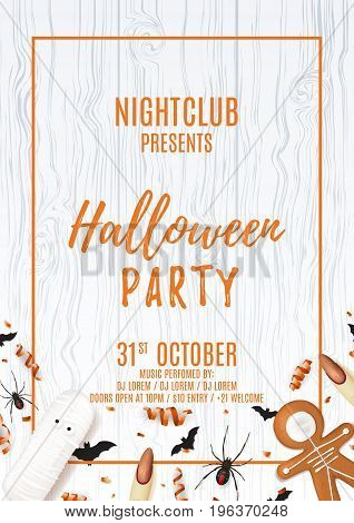 Party flyer with treats for halloween. Top view on spiders, paper bats and confetti on wooden texture. Vector illustration with cookies. Invitation to nightclub with serpentine.