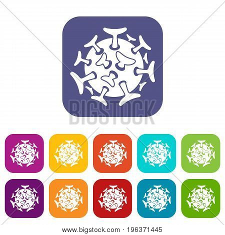 Round viral bacteria icons set vector illustration in flat style in colors red, blue, green, and other