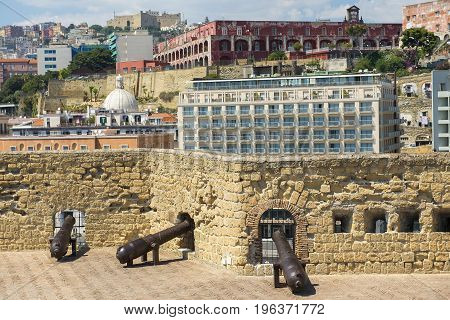 cannons on top of the castle Egg fortress ( Castel dell'Ovo ) in the port of Naples in southern Italy