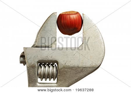Closeup of hazelnut in the grip (captured by wrench). Isolated on white background.