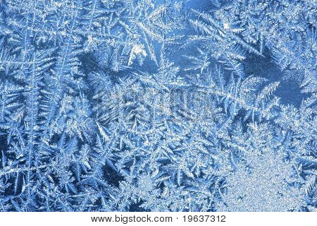 Hoarfrost #2 - The patterns made by the frost on the window (hoarfrost background)