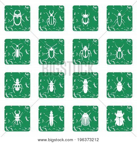 Bugs icons set in grunge style green isolated vector illustration