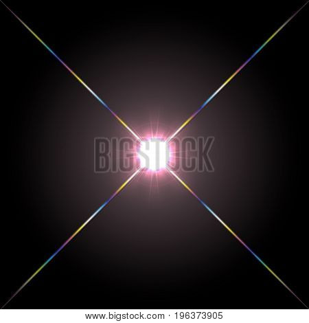 Abstract front lens flare glowing light effect design. Glow glare decoration with spectrum ray sparkles. Isolated on black background.