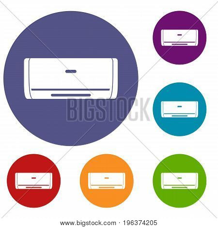 Internal unit air conditioner icons set in flat circle red, blue and green color for web
