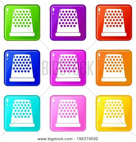 Thimble icons of 9 color set isolated vector illustration
