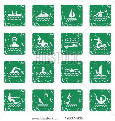 Water sport icons set in grunge style green isolated vector illustration