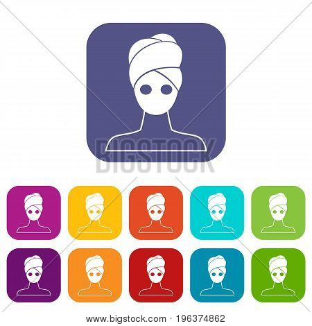 Spa facial clay mask icons set vector illustration in flat style in colors red, blue, green, and other