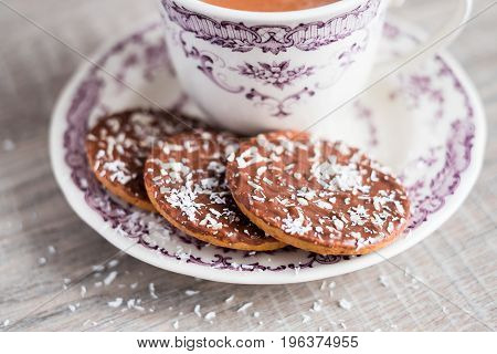 Homemade cocoa or hot chocolate with cookies, selective focus