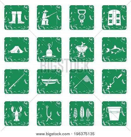 Fire fighting icons set in grunge style green isolated vector illustration