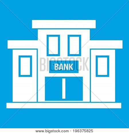 Bank building icon white isolated on blue background vector illustration