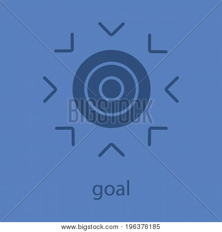 Goal glyph color icon. Silhouette symbol. Purpose abstract metaphor. Negative space. Vector isolated illustration