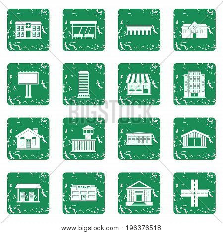 City infrastructure items icons set in grunge style green isolated vector illustration