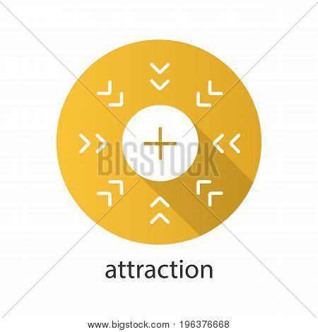 Attraction symbol flat design long shadow glyph icon. Positively charged electron. Vector silhouette illustration