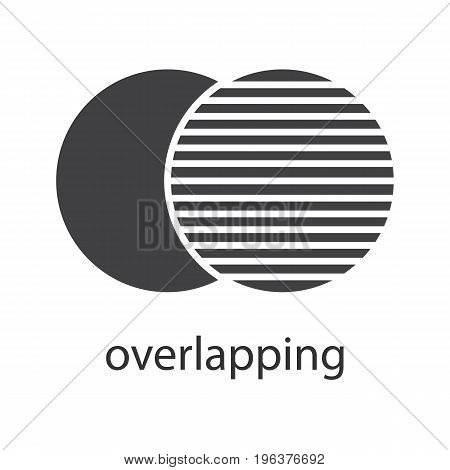 Overlapping glyph icon. Silhouette symbol. Convergence abstract metaphor. Negative space. Vector isolated illustration