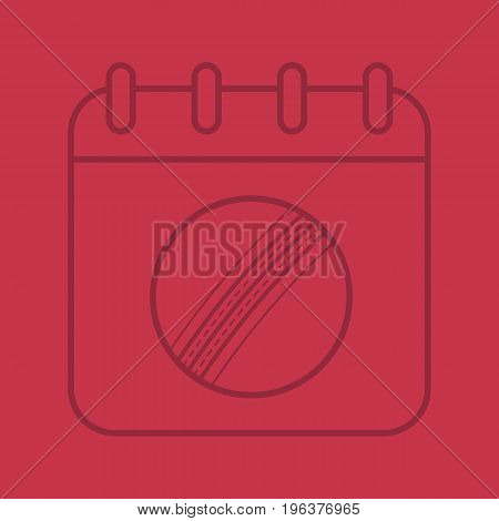 Cricket championship date color linear icon. Calendar page with cricket ball. Thin line outline symbols on color background. Vector illustration