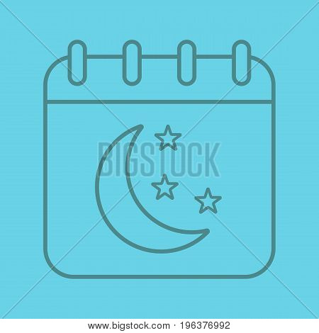 Night calendar color linear icon. Calendar page with moon and stars. Thin line outline symbols on color background. Vector illustration