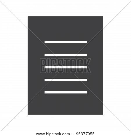 Document glyph icon. Text page silhouette symbol. New file. Negative space. Vector isolated illustration