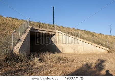 Underpass in a High-Speed Railway in Leon Province, Spain. These non-specific structures can be used as passageways by wildlife