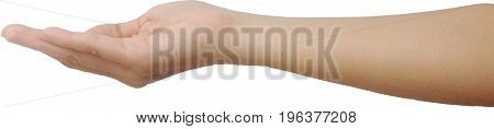 Human hands hold something and isolated on white background,concept for promote your business