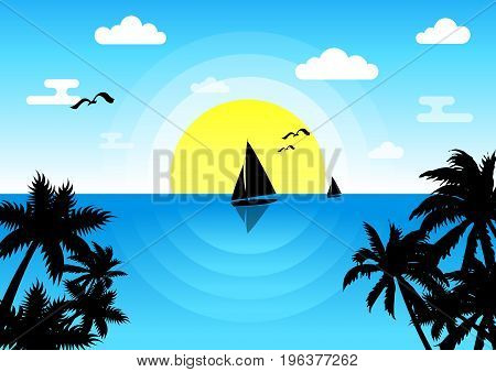 Sunset in the sea with a sailboat and seagulls. Summer holidays vector background. Summer blue flat vector background. All in a single layer. Vector illustration.