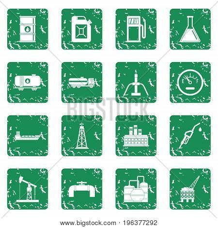 Oil industry items icons set in grunge style green isolated vector illustration