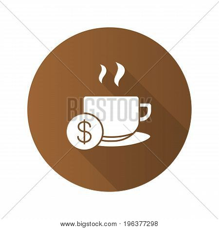 Buy cup of tea flat design long shadow glyph icon. Hot steaming mug with dollar sign. Vector silhouette illustration