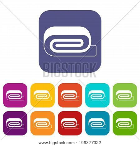 Spa towel icons set vector illustration in flat style in colors red, blue, green, and other