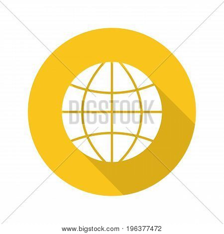 Globe flat design long shadow glyph icon. Earth spherical model. Vector silhouette illustration