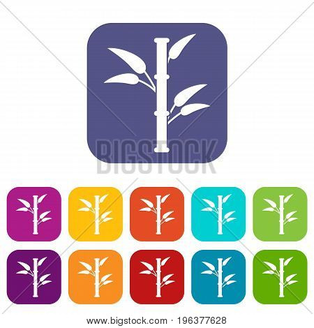 Bamboo icons set vector illustration in flat style in colors red, blue, green, and other