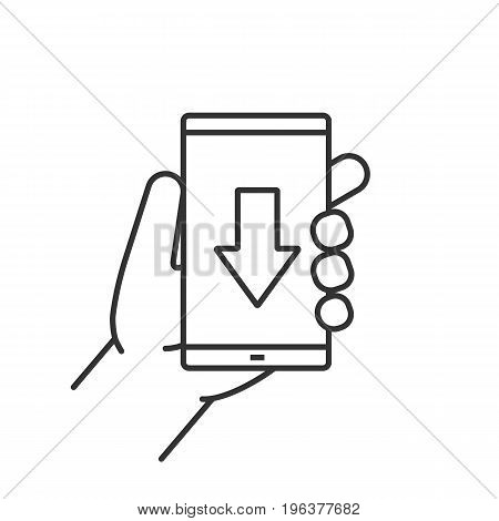 Hand holding smartphone linear icon. Thin line illustration. Smart phone with download arrow contour symbol. Vector isolated outline drawing