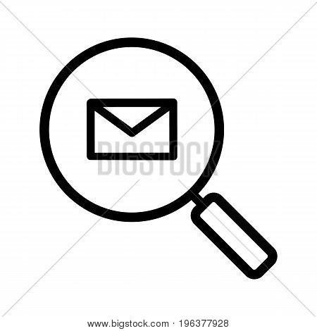 Email search linear icon. Thick line illustration. Magnifying glass with email letter contour symbol. Vector isolated outline drawing