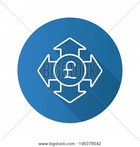 Money spending flat linear long shadow icon. Great Britain pound with all direction arrows. Expanses. Vector outline symbol