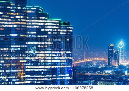 Cityscape View Of Modern Office Business Building In Business Zone In Big Downtown.